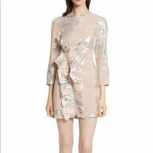 NEW self-portrait Metallic Ruffle Minidress Size 8